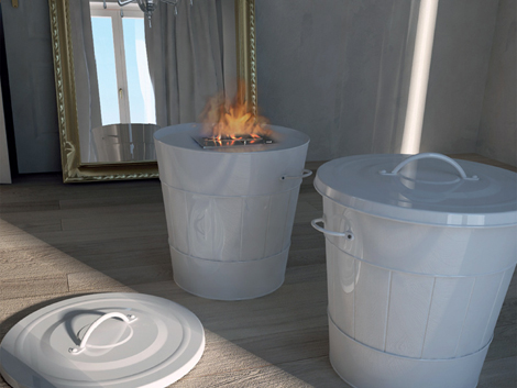 Mobile Fireplace In The Form Of A Trash Can