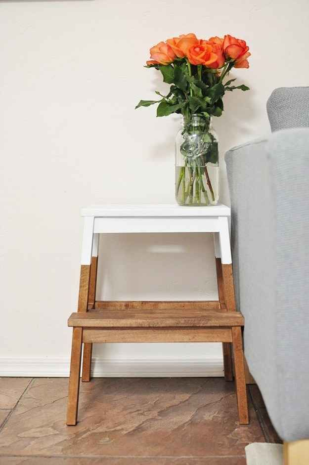 Turn A Stool Into Nightstand