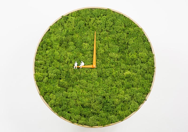 Moss wall clock design