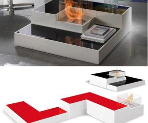 Tetris-style modular fireplace by Paolo Grasselli