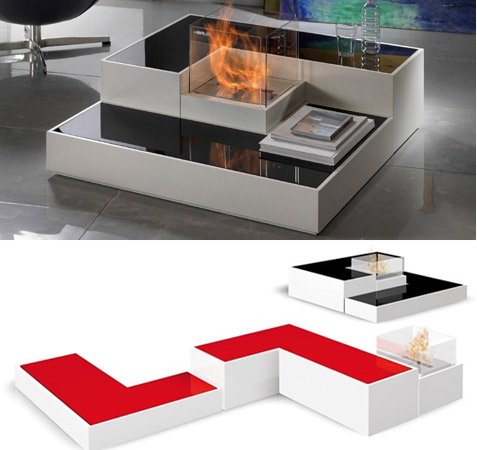 Captivating Tetris Style Modular Fireplace By Paolo Grasselli