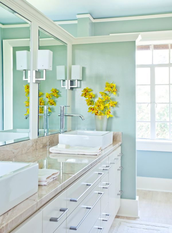 Turquoise bathroom by garry mertins for Bathroom decor light green