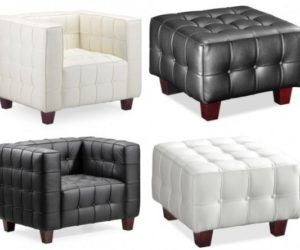 Modern Button Leather Armchair And Ottoman