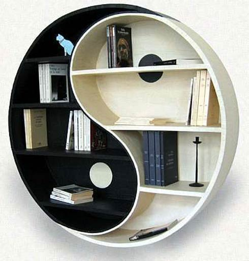 This Ying & Yang Bookshelf will keep the balance between good and bad  characters in place while looking marvelous in your living room.