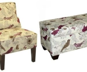 Nesting Birds Upholstered Storage Bench And Chair