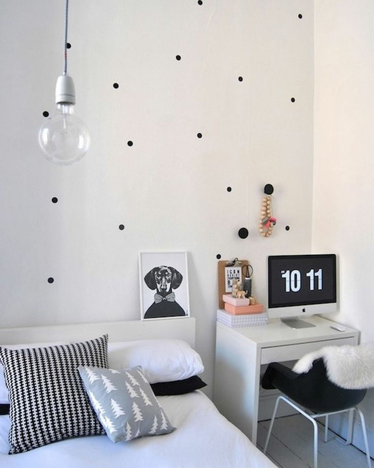 Black And White Small Bedroom Ideas Part - 30: Get A Desk Instead Of A Nightstand.