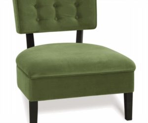 Curves Button Back Chair in Chocolate Brown and Green