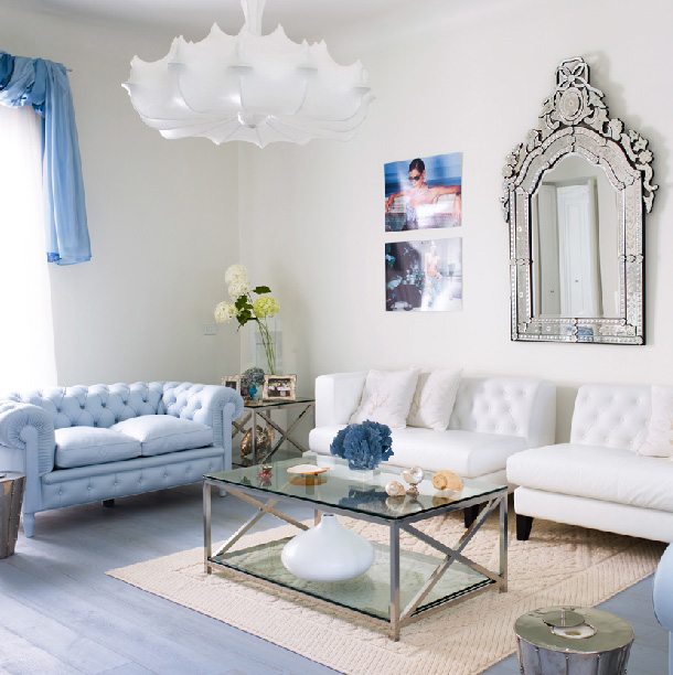 Amazing light blue and white living room Black white blue living room
