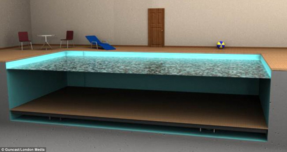 A Swimming Pool That Disappears Under Its Own Floor on pool house kitchen design, pool bath house plans, pool house plans with living quarters, pool house guest house plans, pool house layout design, pool house building plans, pool architecture design, pool plumbing design, pool flooring design, pool home design, pool landscaping design,