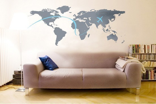 5 maps decorating ideas for Black and white world map wall mural