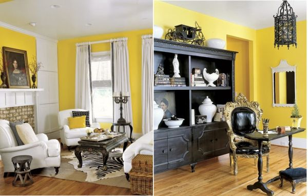 How to decorate with black white yellow for Living room yellow accents