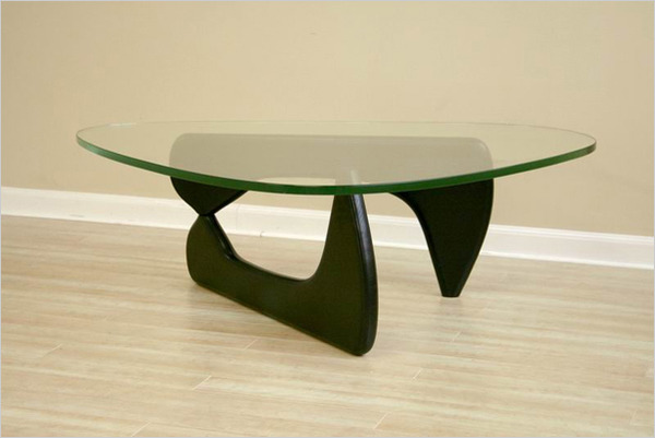 Triangle Wood Base Coffee Table