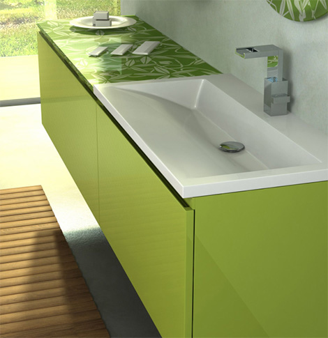 Green Bathroom Vanity From Duebi Italia