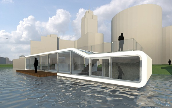 Unique water house in amsterdam for Building a floating home