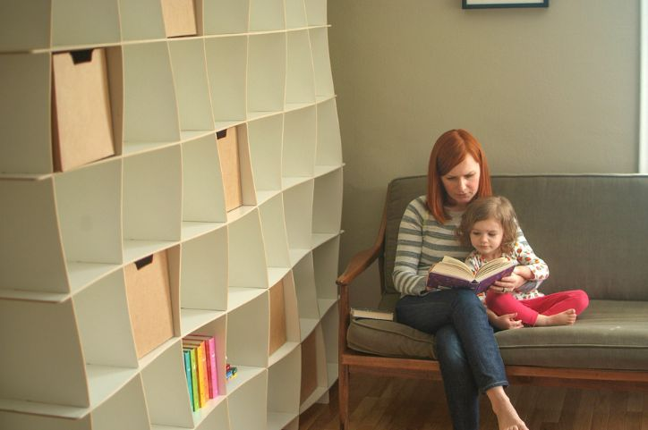 Modern kids room bookcase with a wave design