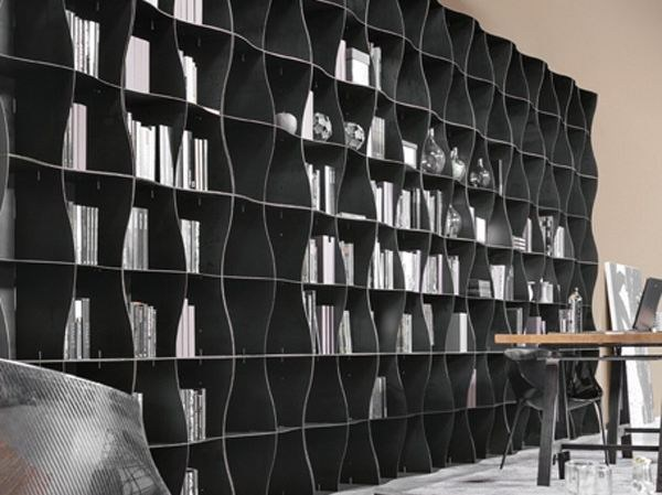 Modular wave bookcase