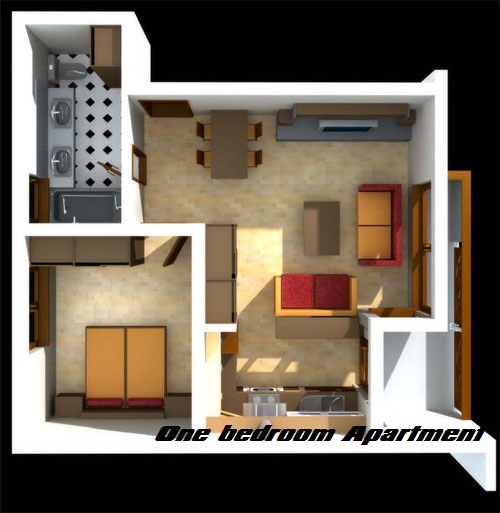 Difference between studio apartment and one bedroom for Single bedroom apartment design