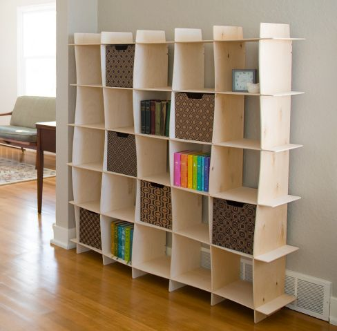 Stylish shelving unit with a wave design