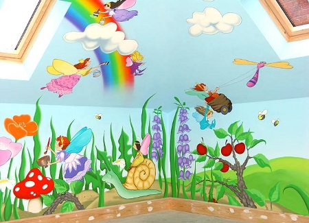 Cartoon characters or animals mural painting for the kids room Kids room wall painting design