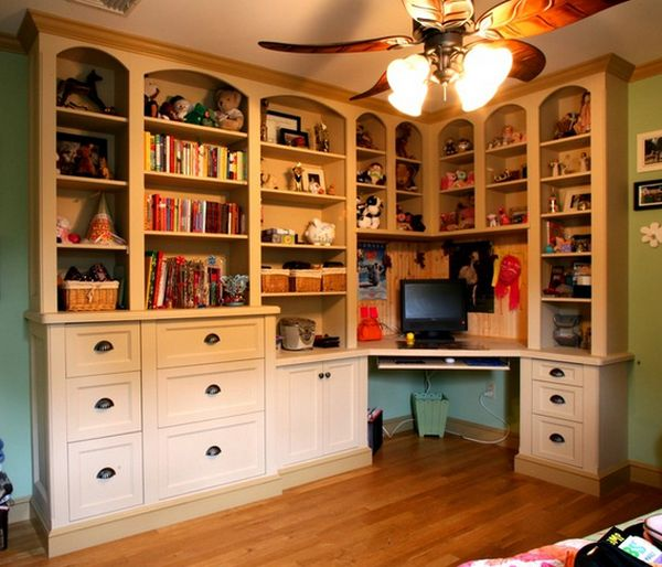 Built In Corner Desk With Bookshelf on Craft Room Storage Corner Desk