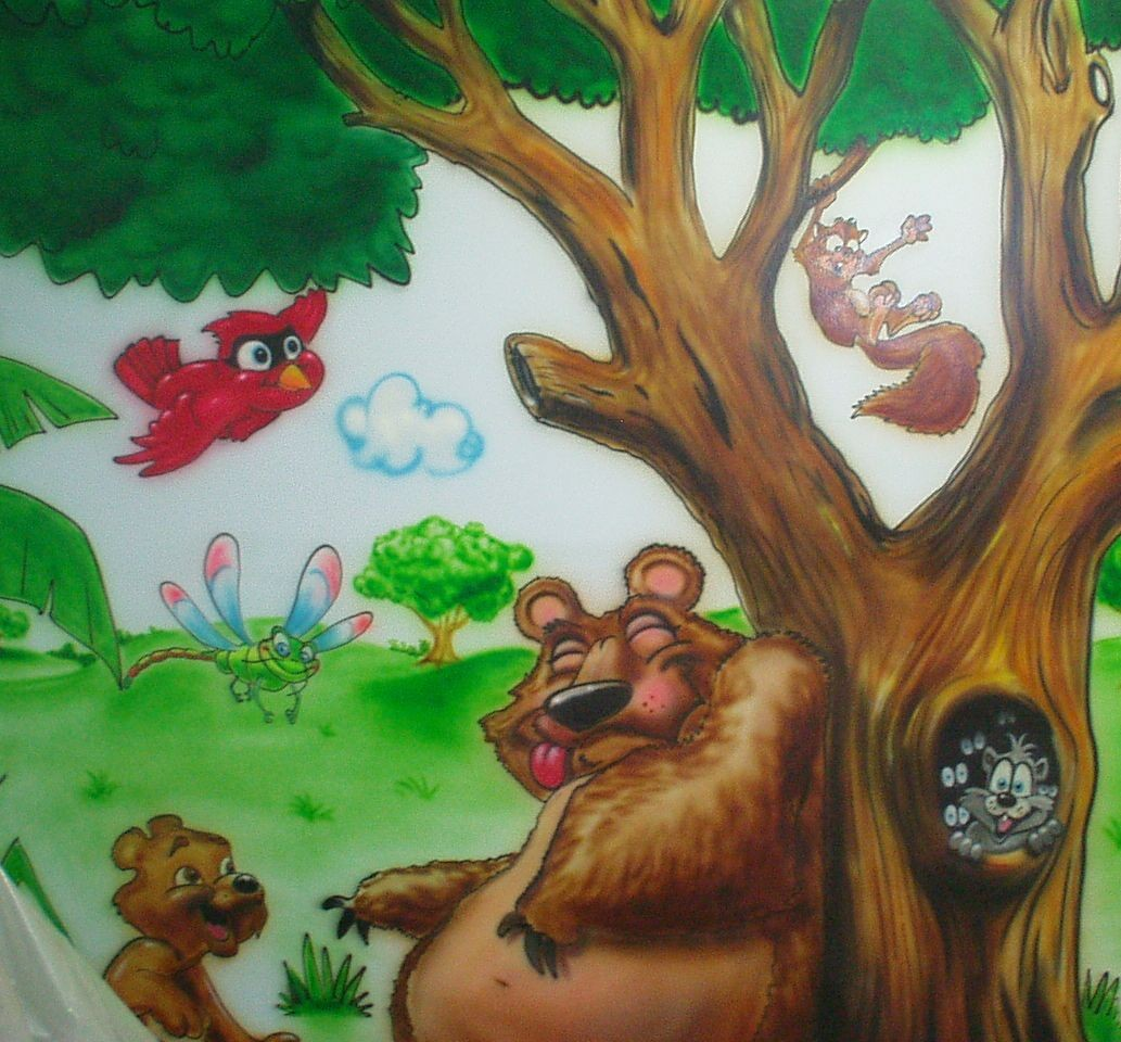 funny curtains for the kids room - Cartoon Painting For Kids
