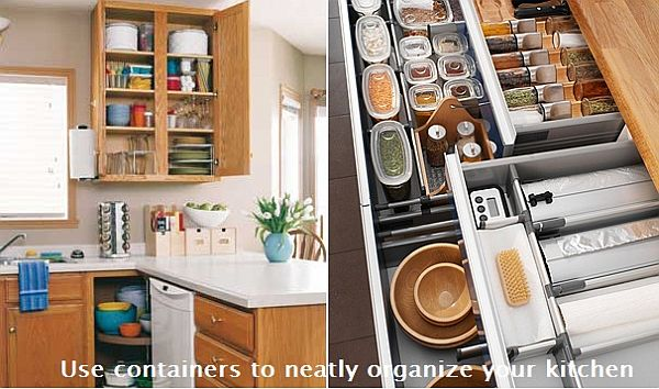 how to organize your kitchen cabinets use containers to neatly organize your kitchen 17168