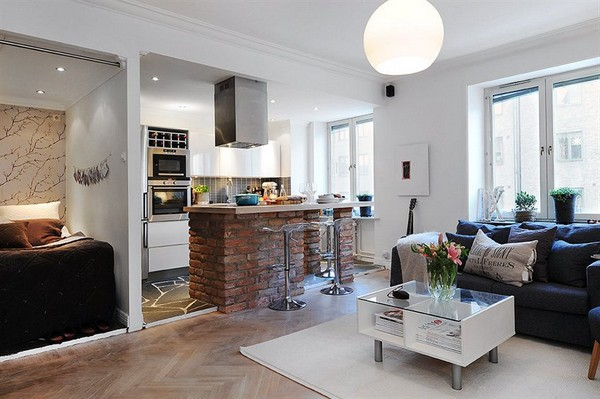 Exceptional Small And Cosy Swedish Apartment Featuring A Brick Kitchen Bar Photo