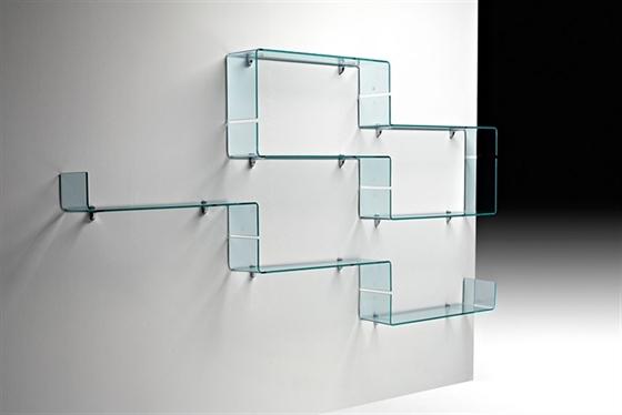 babila glass shelves by luca casini