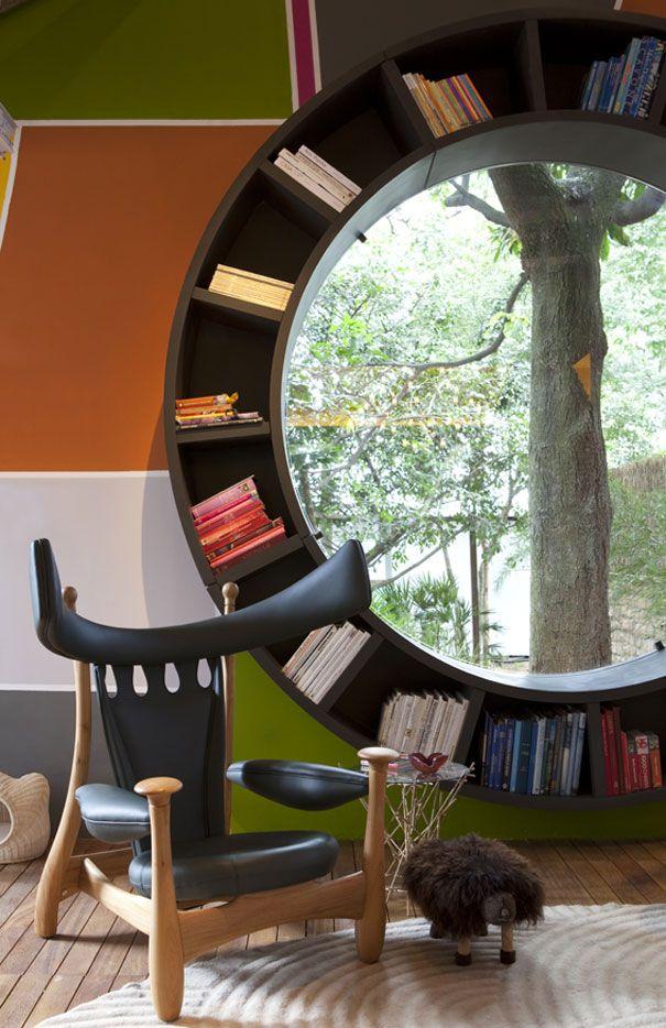 Custom designed circular window space for books