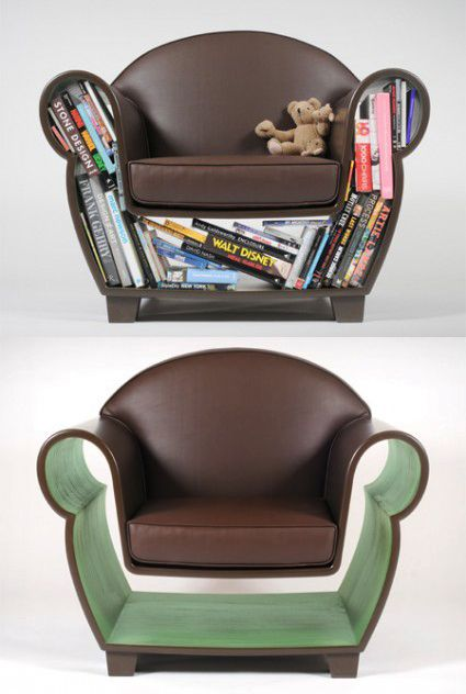 Funky shaped furniture with bookcase