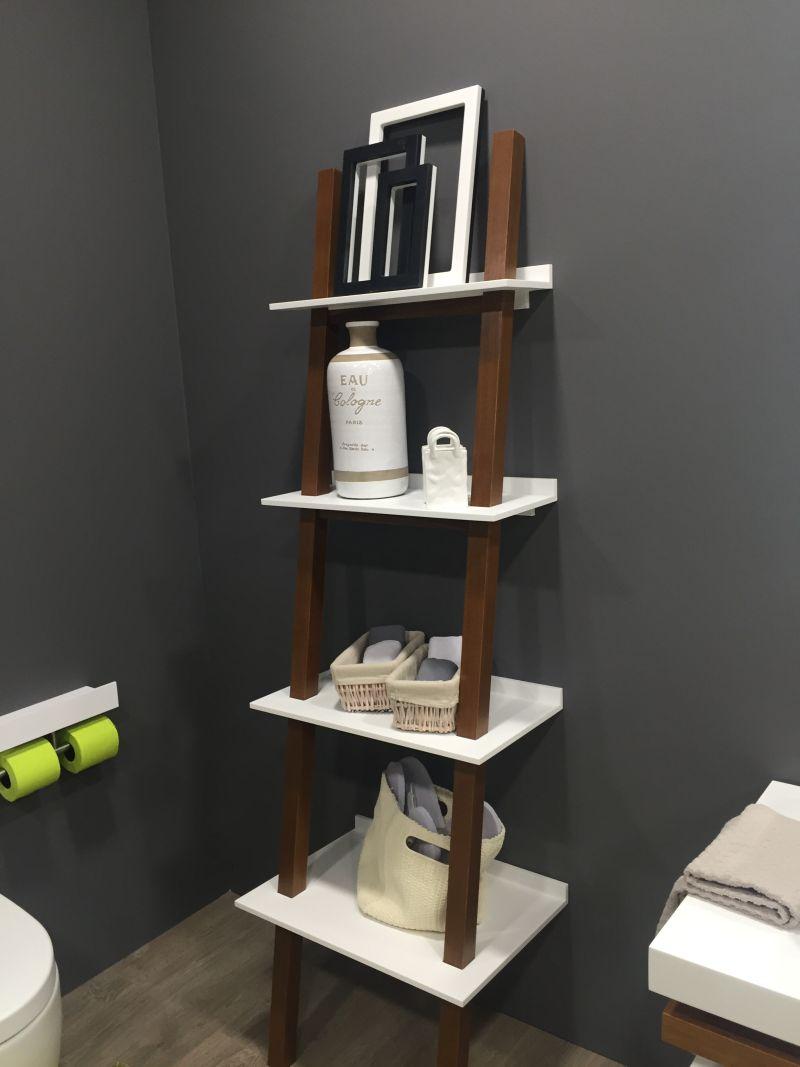 Ladder laying on bathroom wall