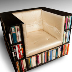 Beautiful Stylish Seating Arrangements With Built In Bookcases Design