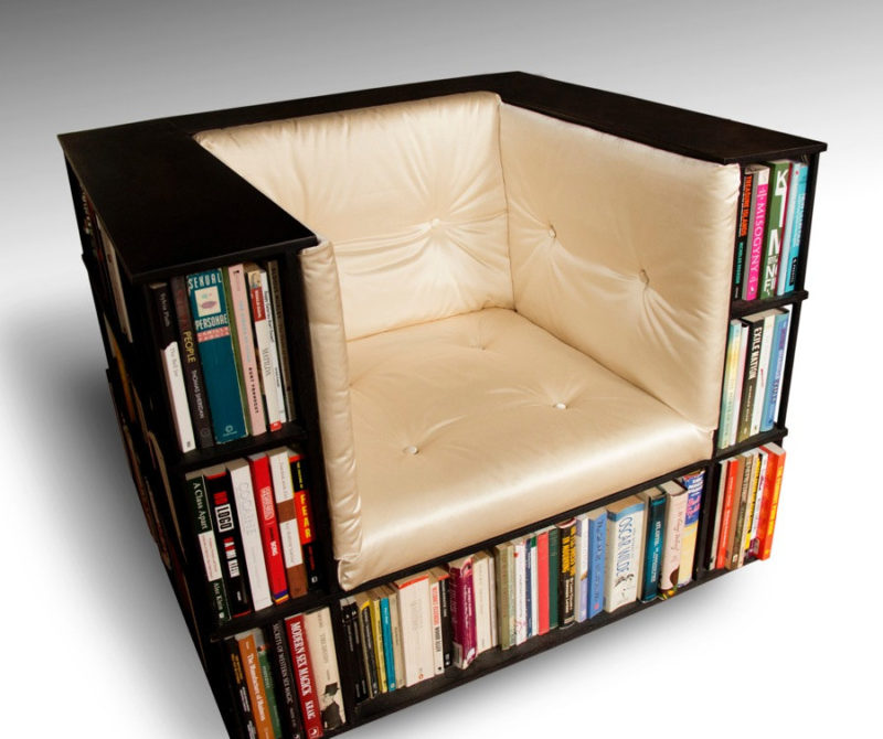 Stylish Seating Arrangements With Built In Bookcases