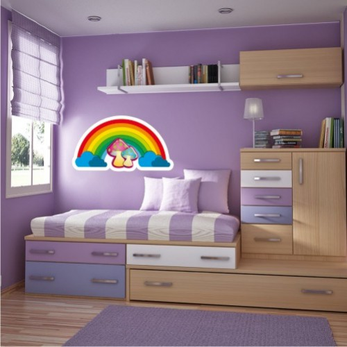 Rainbow wall stickers for the kids room for Rainbow kids room