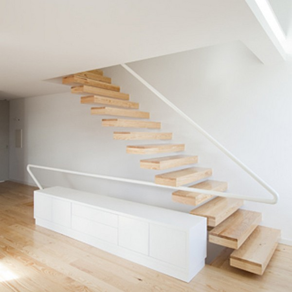 Superb Built In Staircase In Minimalist House In Portugal Pictures