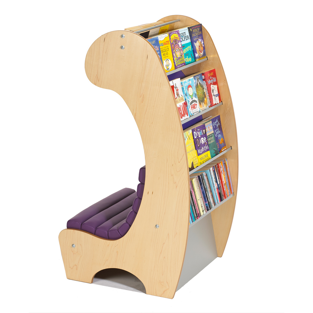 Simple curved chair with bookcase