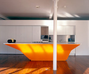An Orange Kitchen Island by A-EM Architects