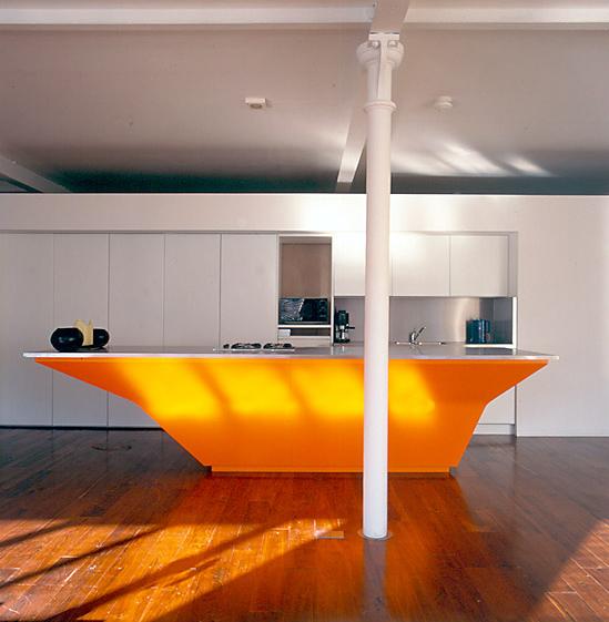 An Orange Kitchen Island by A-EM Architects