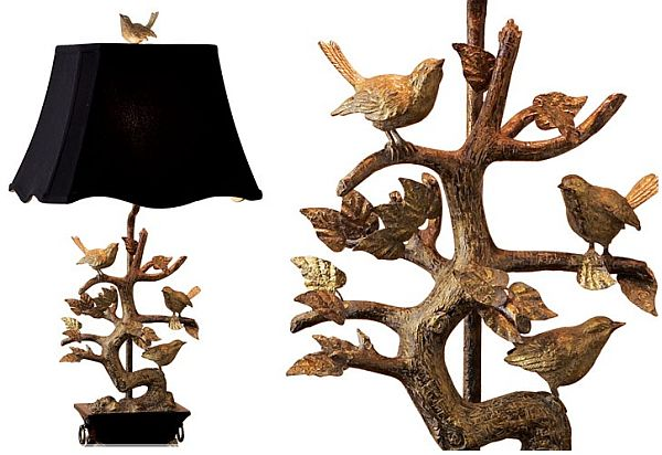 Elegant brass bird table lamp view in gallery mozeypictures
