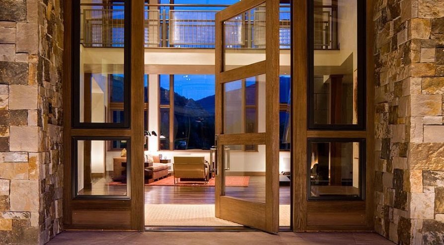 clear glass - Modern Glass Exterior Doors