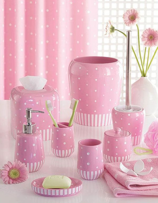 How to decorate a pink bathroom for Pink toilet accessories