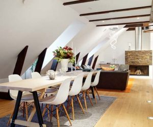 A small attic apartment with beautiful skylights and modern furniture