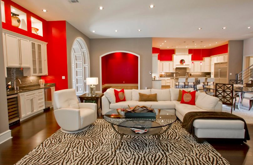 Red And White Living Room Accent red walls for living room