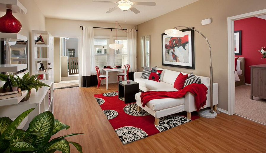 Red And White Living Room Interior Designs