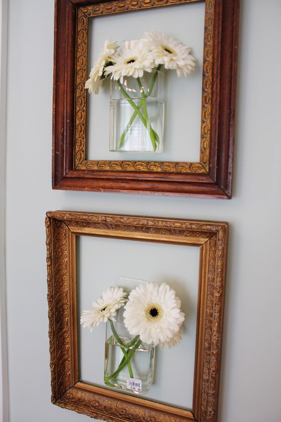 Hang flowers into empty frames