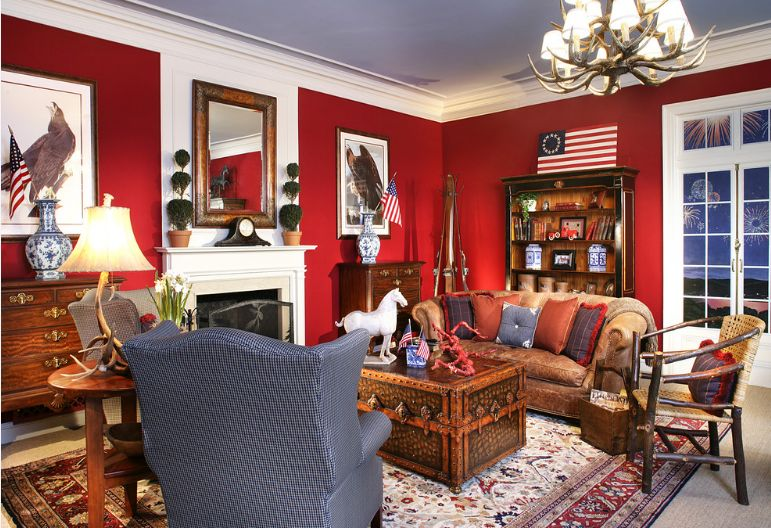 Living room red walls decor