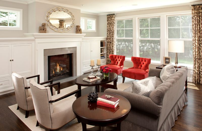 Red tufted chairs for living room