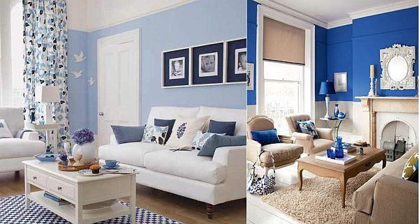 blue color living room.  Blue and White Living Room