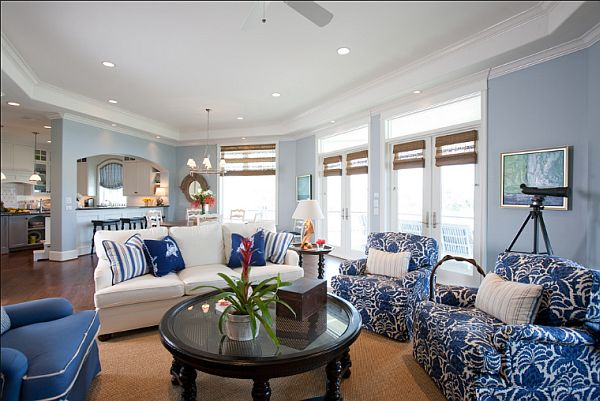 Blue and white living room for Black white and blue living room ideas