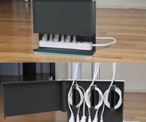 15 diy cord and cable organizers for a clean and uncluttered home Black Wire Management simple and practical cable hiding solution